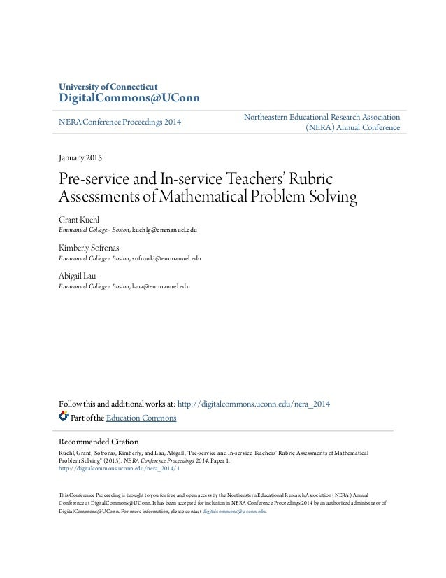 Pre-service and In-service Teachers? Rubric Assessments of Mathem