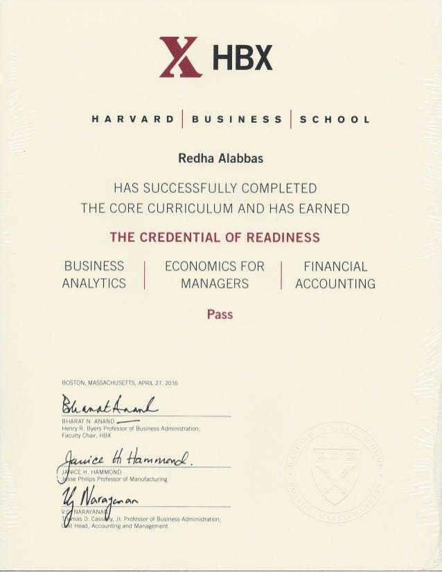 Harvard Core Certificate