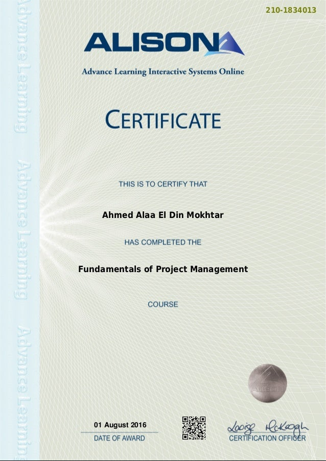 Fundamentals Of Project Management Certificate