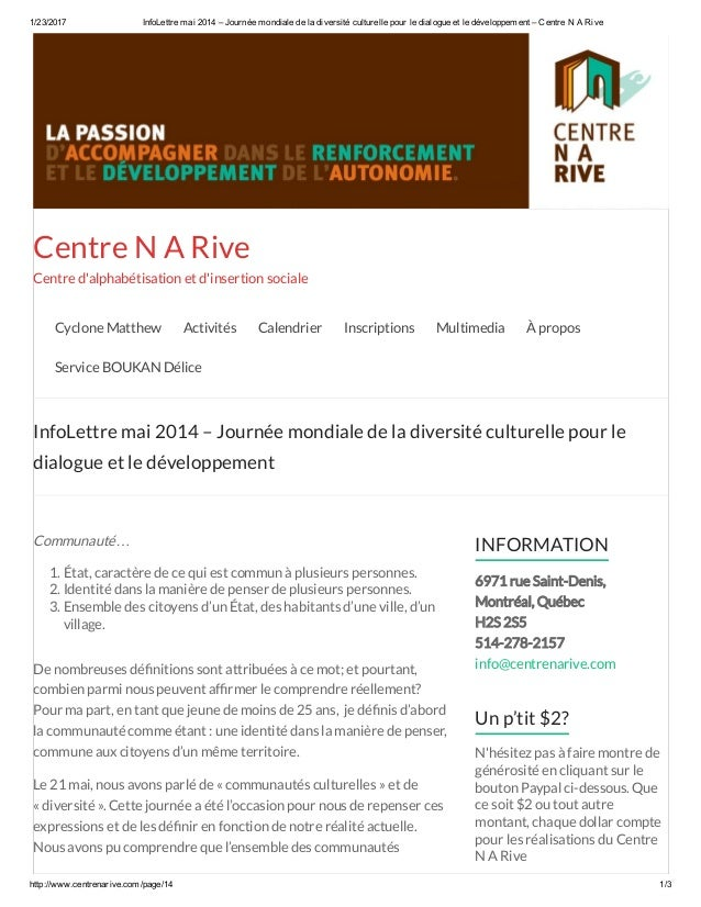 1/23/2017 InfoLettremai2014–Journéemondialedeladiversitéculturellepourledialogueetledéveloppement–Centre...