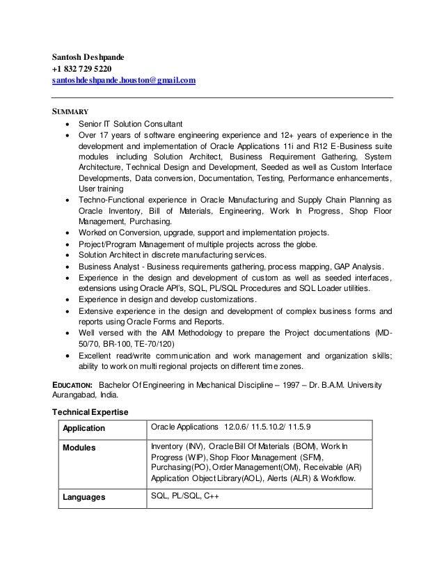 Santosh Deshpande Resume