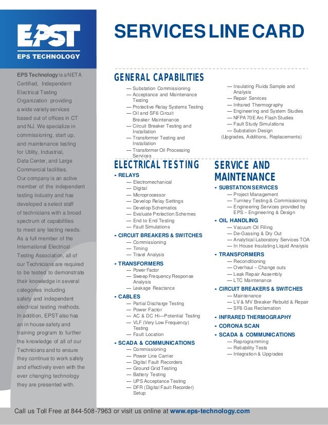 SERVICESLINECARD EPS Technologyis a NETA Certified, Independent Electrical Testing Organization providing a wide variety s...