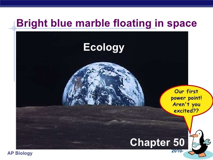 Bright blue marble floating in space Ecology Chapter 50 Our first power point! Aren't you excited??