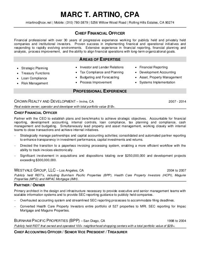Resume for Marc T Artino CPA