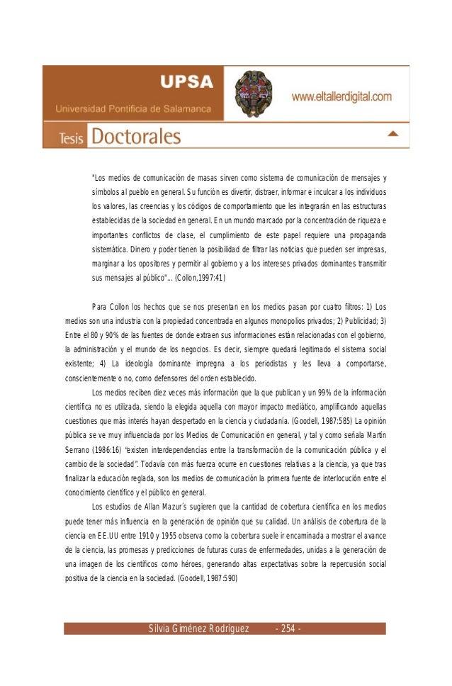 """Silvia Giménez Rodríguez - 254 - """"Los medios de comunicación de masas sirven como sistema de comunicación de mensajes y sí..."""
