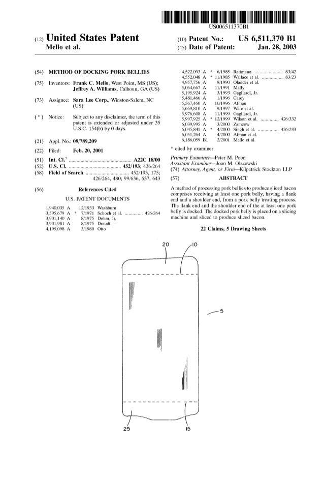 (12) United States Patent Mello et al. (54) METHOD OF DOCKING PORK BELLIES (75) Inventors: Frank C. Mello, West Point, MS ...