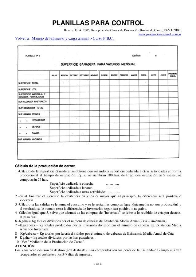PLANILLAS PARA CONTROL                                  Bavera, G. A. 2005. Recopilación. Cursos de Producción Bovina de C...