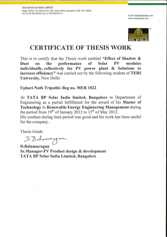 Master thesis certificate
