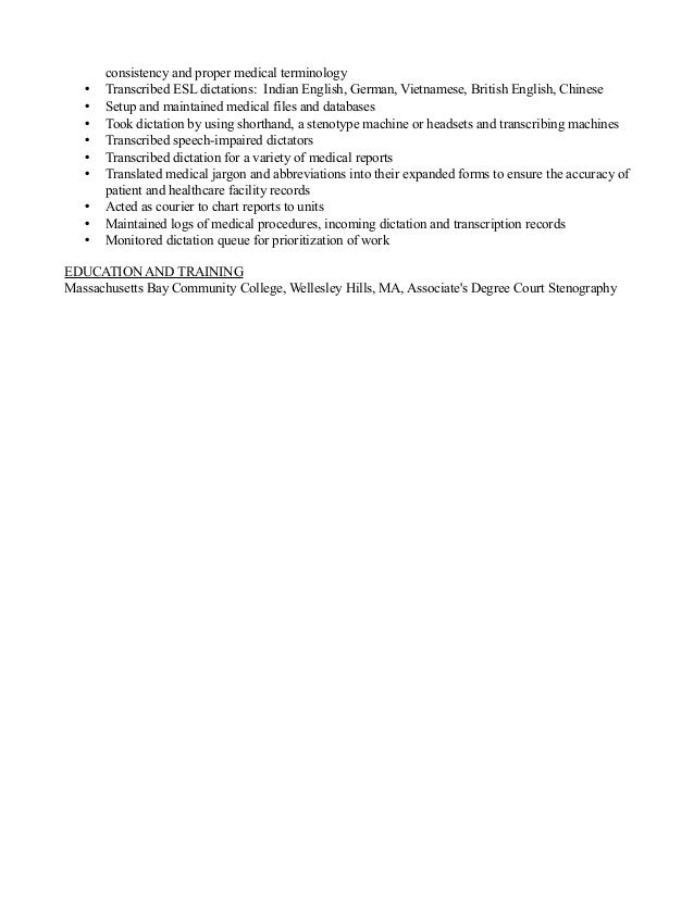 jody u0026 39 s medical transcriptionist resume