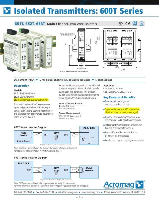 651T, 652T, 653T Multi-Channel, Two-Wire Isolators Description Models 651T: Single I/O channel 652T: Dual I/O channel 653T...