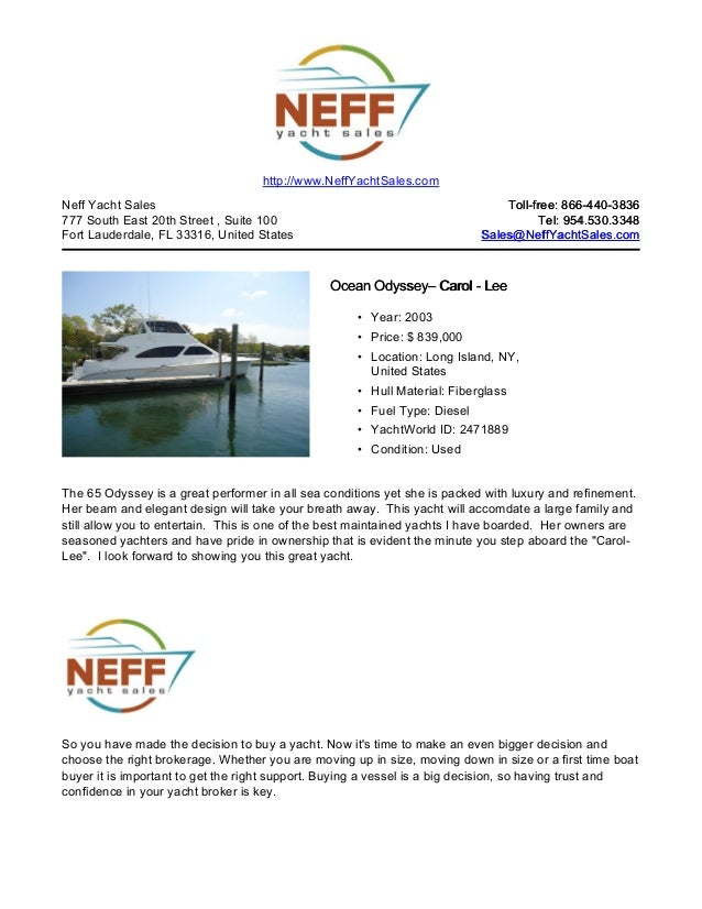 65' 2003 ocean odyssey yacht for sale neff yacht sales