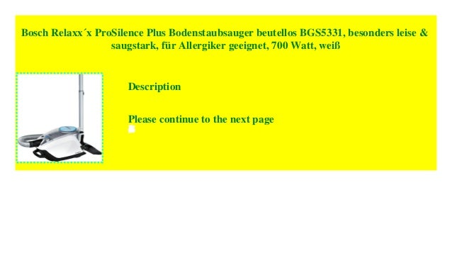 BOSCH Bodenstaubsauger Relaxx/'x ProSilence Plus BGS5331 700 Watt beutellos