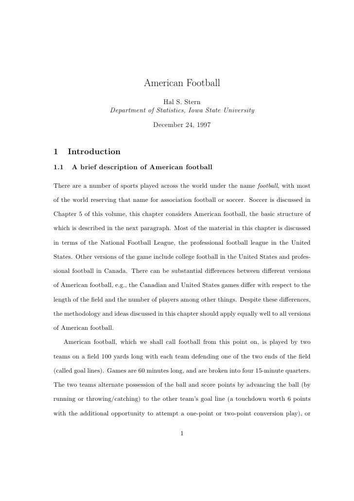American Football                                    Hal S. Stern                    Department of Statistics, Iowa State ...
