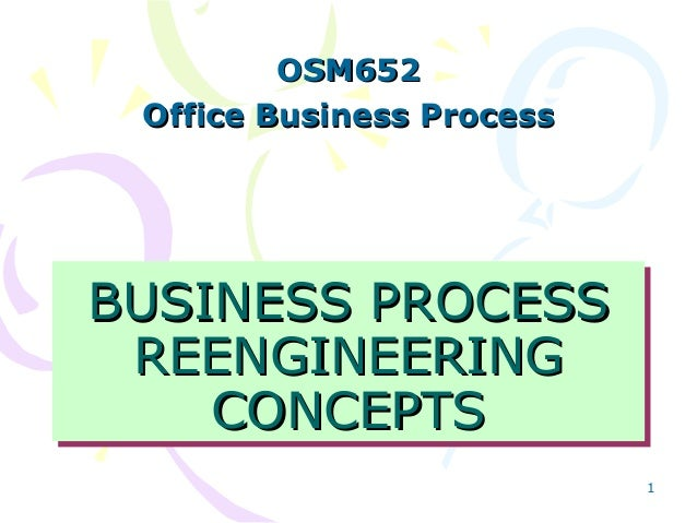 OSM652 Office Business Process  BUSINESS PROCESS BUSINESS PROCESS REENGINEERING REENGINEERING CONCEPTS CONCEPTS 1
