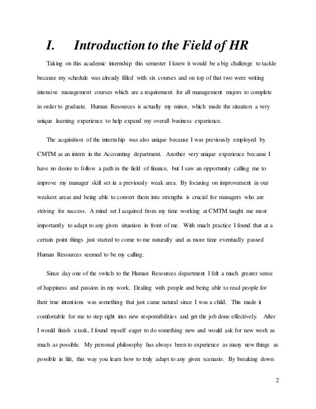 Essay for internship