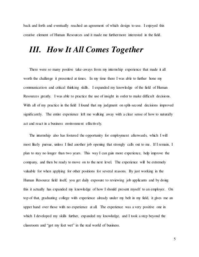 internship summary essay