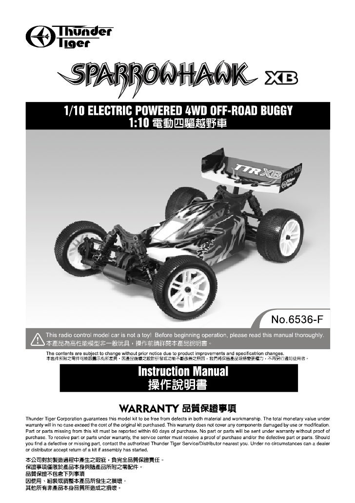 Manuale Sparrowhawk XB 4WD 1:10 Off-Road Buggy