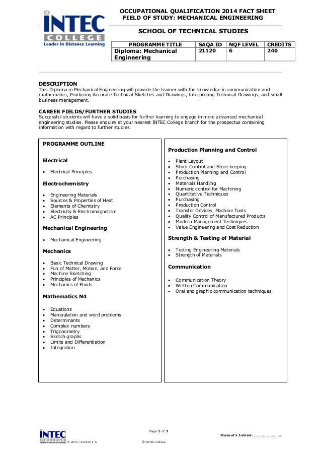 21120 - Diploma Mechanical Engineering - Fact sheet