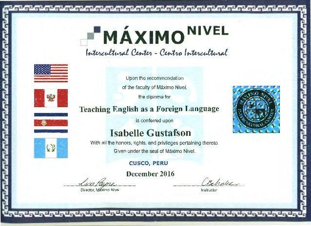 Isabelle Gustafson TEFL Certificate