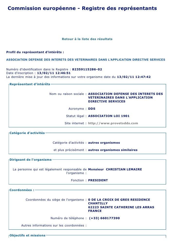Commission européenne - Registre des représentantsdintérêtsCommission européenne       Registre des représentants dintérêt...