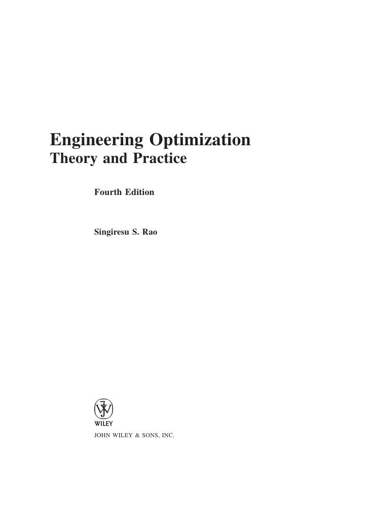 Engineering Optimization: Theory and Practice, 3rd Edition