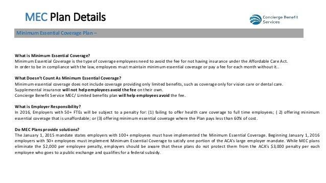 Mec with limited benefits v2 3 for Minimum essential coverage plan design