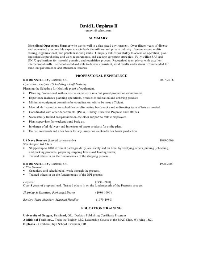 operations planner resume