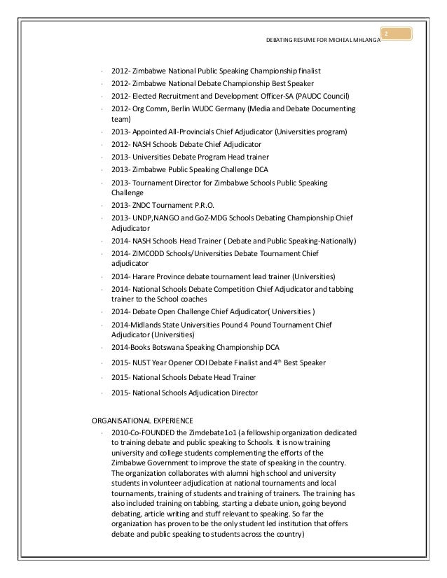 micheal mhlanga debating resume 2015
