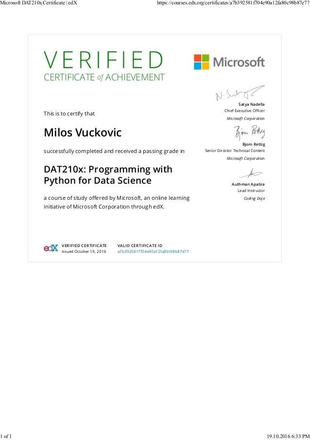Microsoft DAT210x Certificate - edX