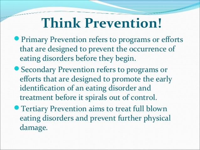 prevention of eating disorders This internet site is presented by the butterfly foundation as co-ordinating agency of the national eating disorders collaboration for the purpose of providing information and resources on the prevention and management of eating disorders for the benefit of the public.