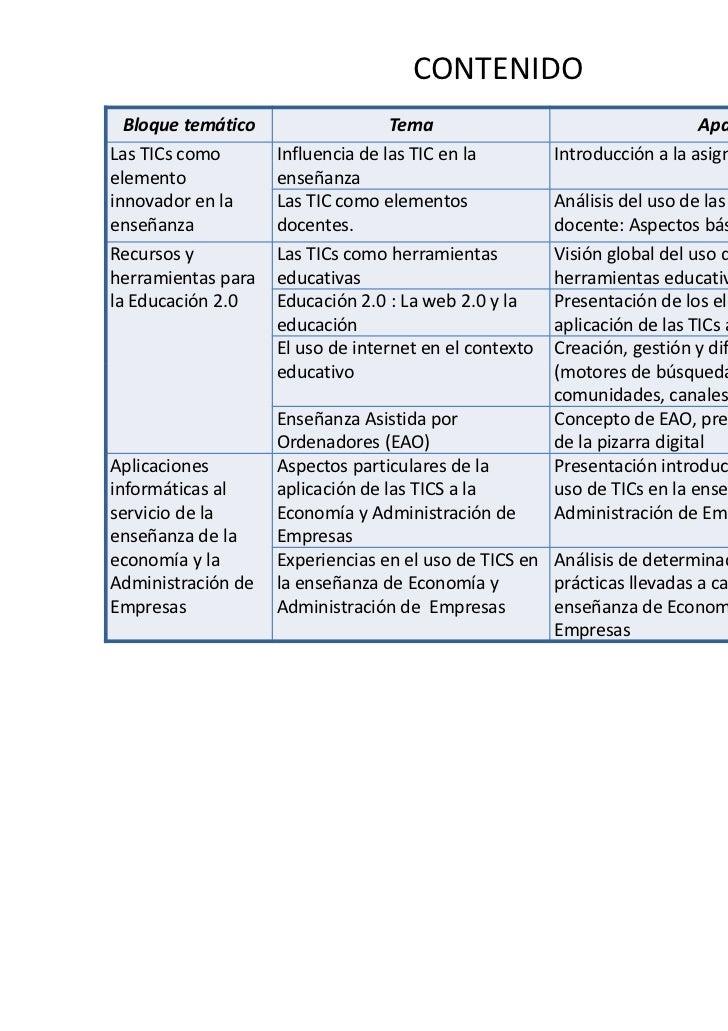 CONTENIDO  Bloque temático                  Tema                                    ApartadosLas TICs como       Influenci...