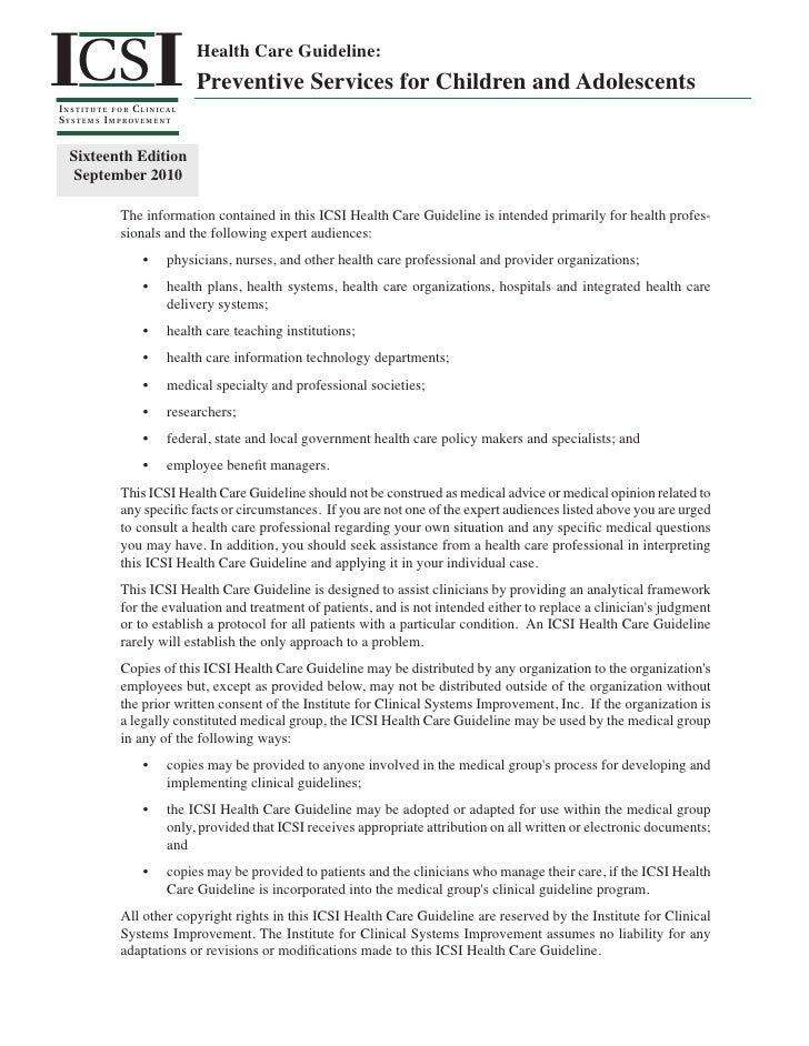ICS II NSTITUTE FOR C LINICALS Y S T E M S I M P ROV E M E N T                                    Health Care Guideline:  ...