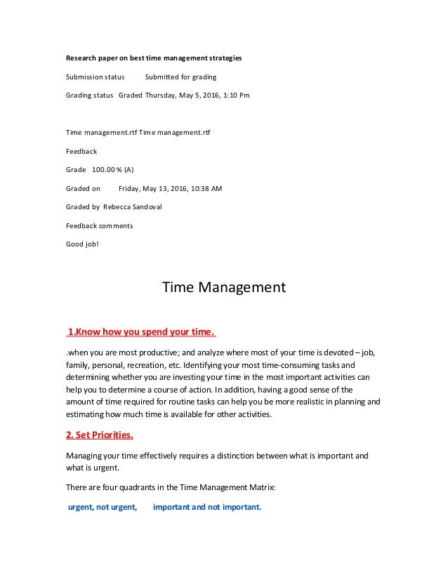 Time management term paper