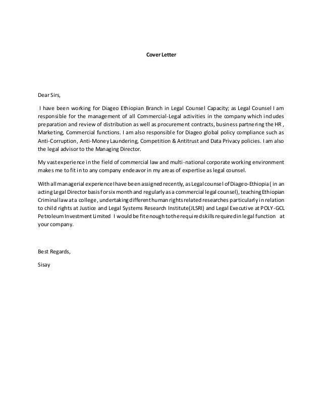 cover letter for in house counsel position - cover letter