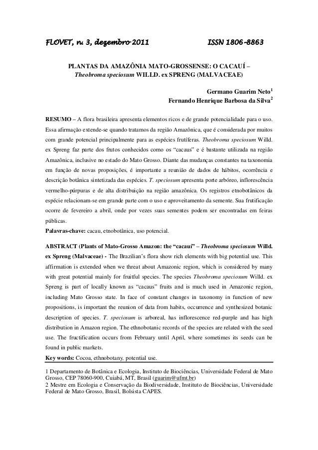 FLOVET, n. 3, dezembro 2011                                          ISSN 1806–8863            PLANTAS DA AMAZÔNIA MATO-GR...