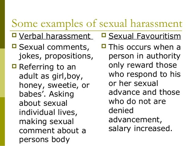 Sexual Harassment In The Workplace Examples