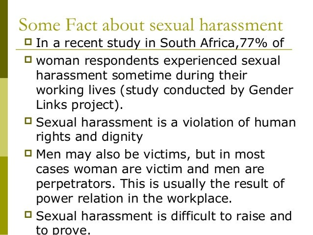 Statistics of sexual harassment in the workplace in south africa