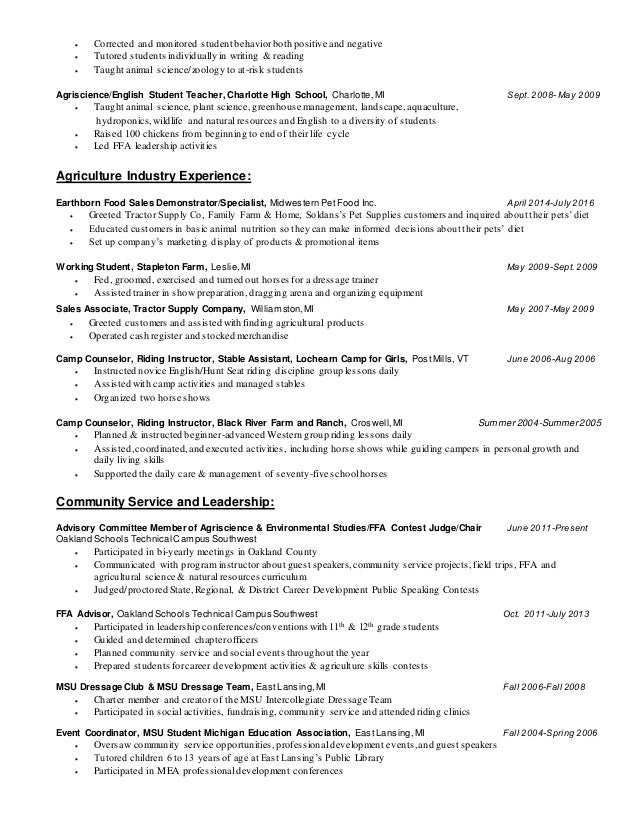 2 - Animal Science Student Resume