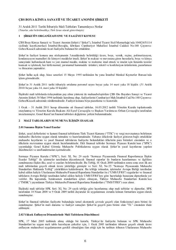 ÇBS BOYA KİMYA SANAYİİ VE TİCARET ANONİM ŞİRKETİ31 Aralık 2011 Tarihi İtibariyle Mali Tabloları Tamamlayıcı Notlar(Tutarla...