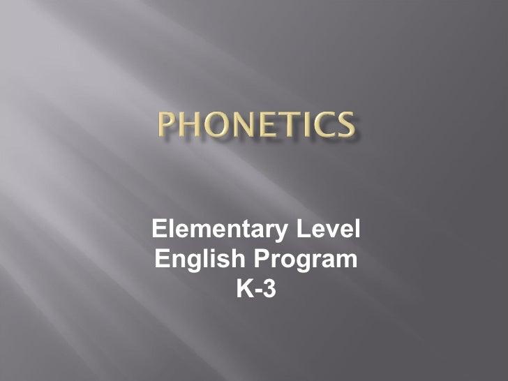 Elementary Level English Program K-3