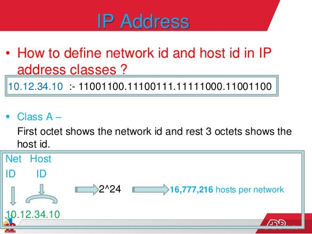 India IP Address • How to define network id and host id in IP address classes ? 10.12.34.10 :- 11001100.11100111.11111000....