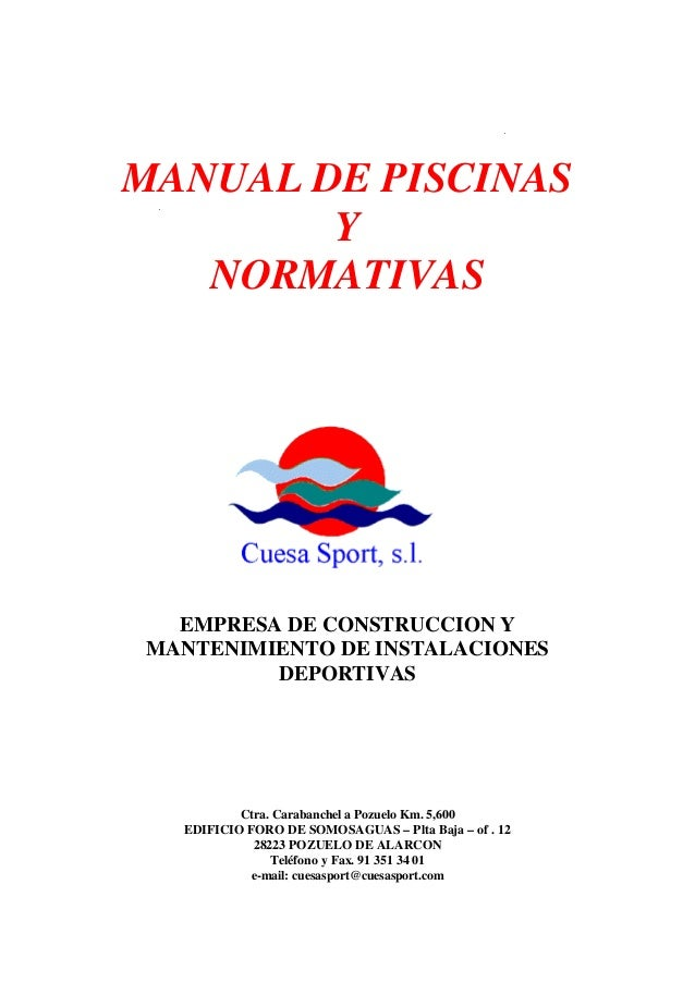 65858444 manual y normativas pdf de piscinas for Manual de diseno y construccion de albercas pdf
