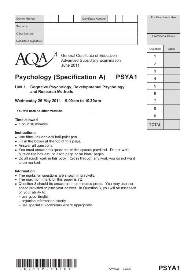 General Certificate of Education Advanced Subsidiary Examination June 2011 Psychology (Specification A) PSYA1 Unit 1 Cogni...