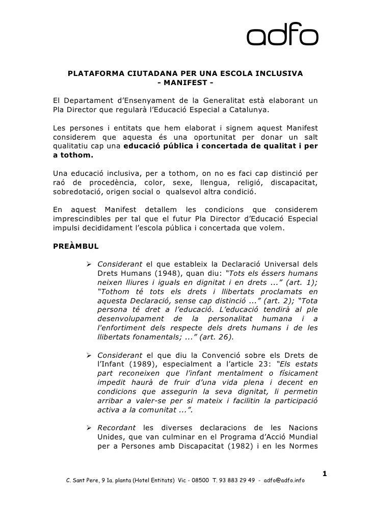 PLATAFORMA CIUTADANA PER UNA ESCOLA INCLUSIVA                    - MANIFEST -El Departament d'Ensenyament de la Generalita...