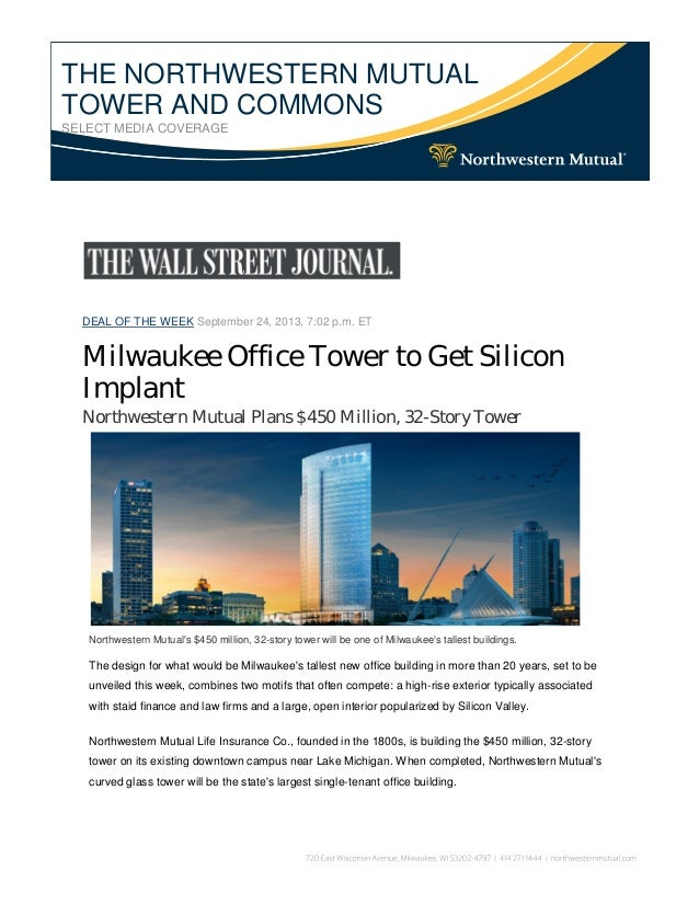 THE NORTHWESTERN MUTUAL TOWER AND COMMONS SELECT MEDIA COVERAGE DEAL OF THE  WEEK September 24, ...