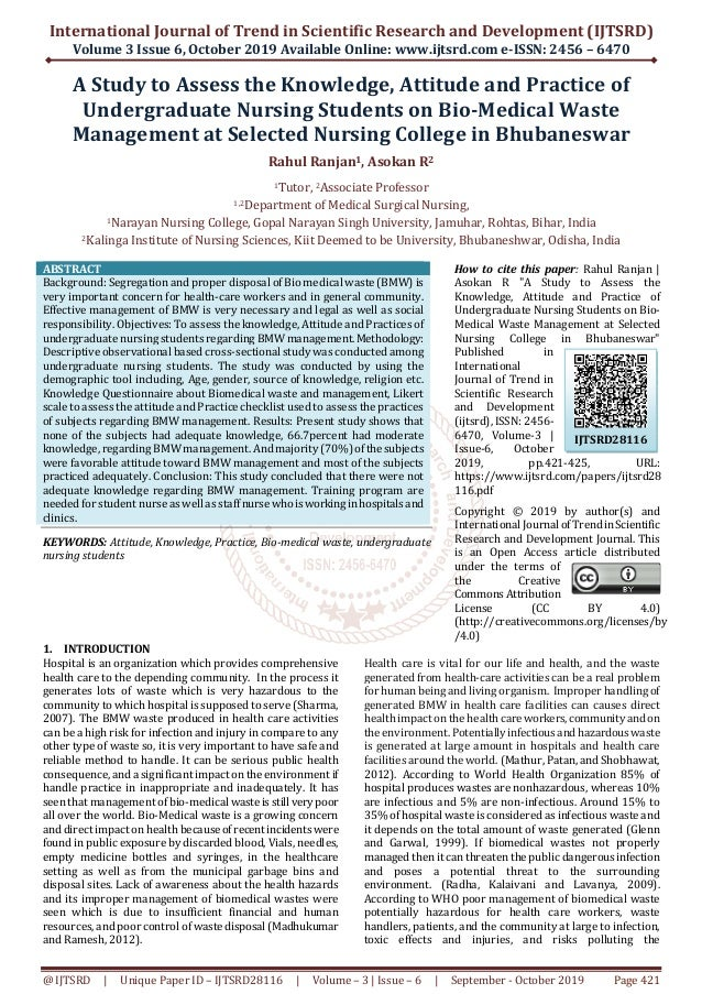 International Journal of Trend in Scientific Research and Development (IJTSRD) Volume 3 Issue 6, October 2019 Available On...