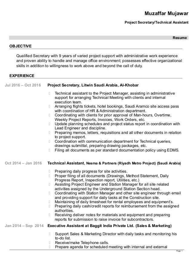 Muzaffar Mujawar Project Secretary/Technical Assistant Resume OBJECTIVE  Qualified Secretary With 9 Years Of Varied ...