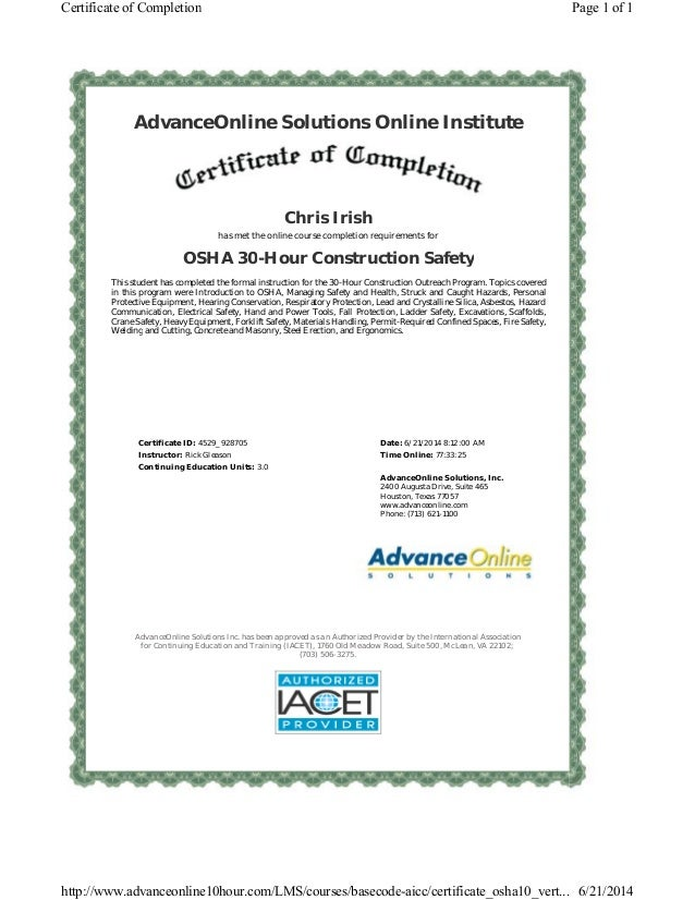 osha hour certificate course slideshare completion upcoming