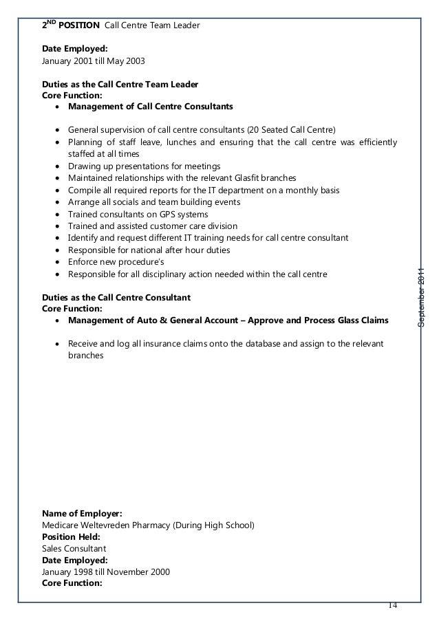 Call Center Customer Service Job Description Free Pdf Download – Team Lead Job Description