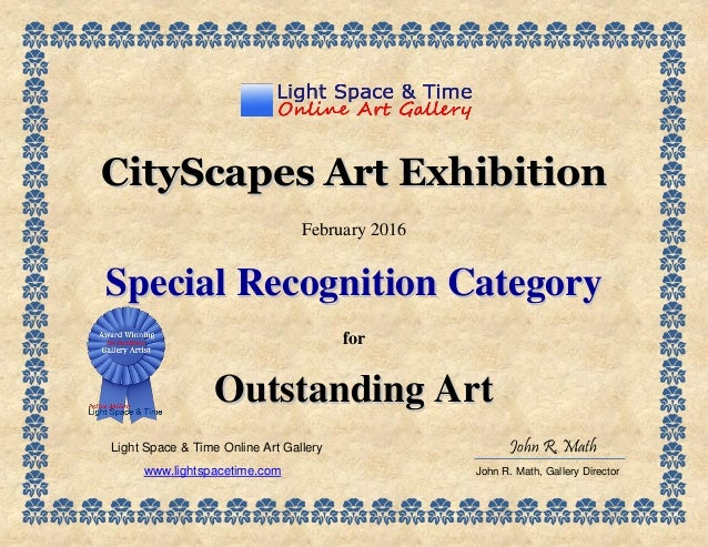 special recognition cityscapes 2016 art exhibition certificate
